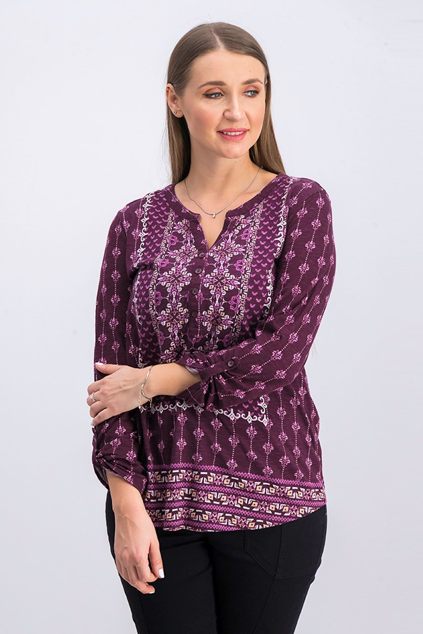 Women's Mixed-Print Top, Berry Jam