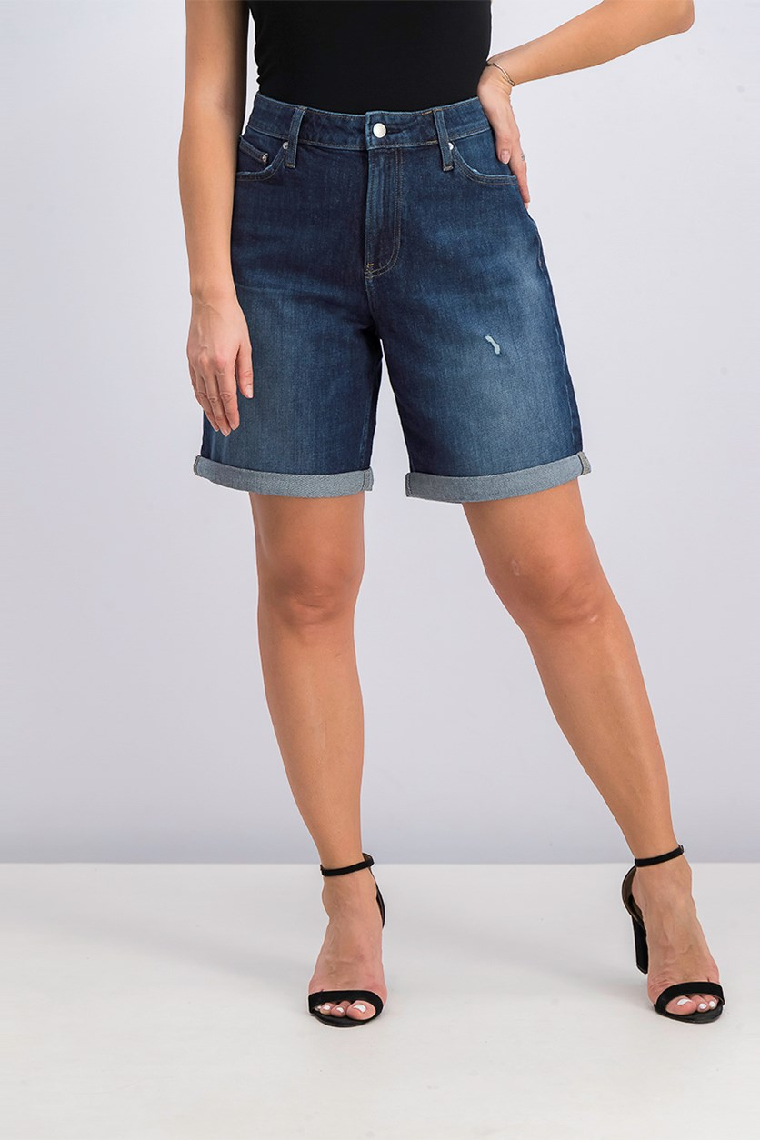 Modern Classic Cuffed Fashion Denim Short, Blue Wash