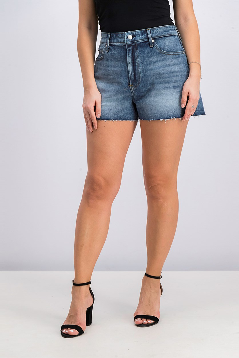 High Rise Raw Hem Denim Short, Blue Wash