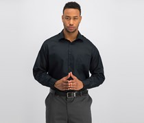 Geoffrey Beene Mens Classic Fit Wrinkle Free Dress Shirt, Black