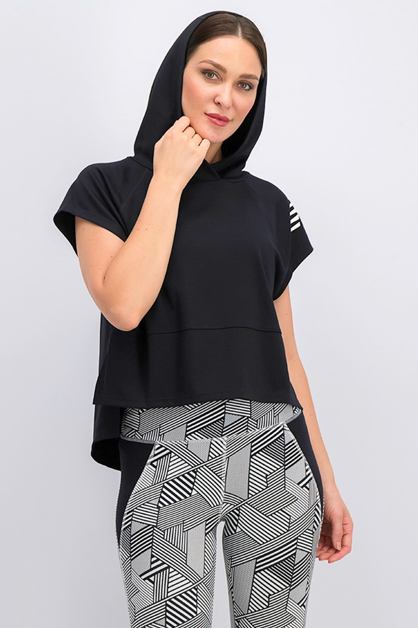 Women's Cropped Hooded Tee, Black
