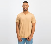 DKNY Mens Mercerized V-Neck T-Shirt, Maple Sugar