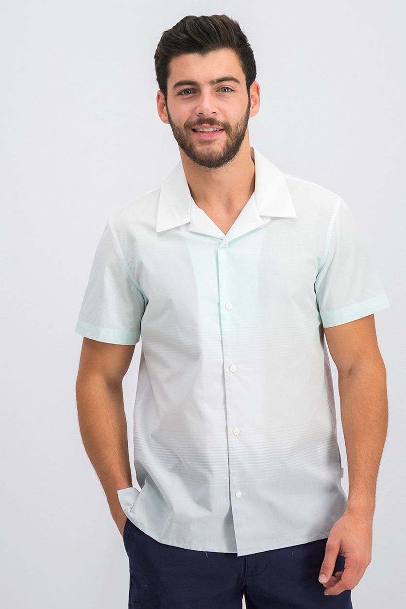 Mens Ombre Striped Shirt, Light Jade