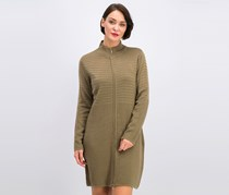 Calvin Klein Zip-Front Banded Sweater Dress, Taupe