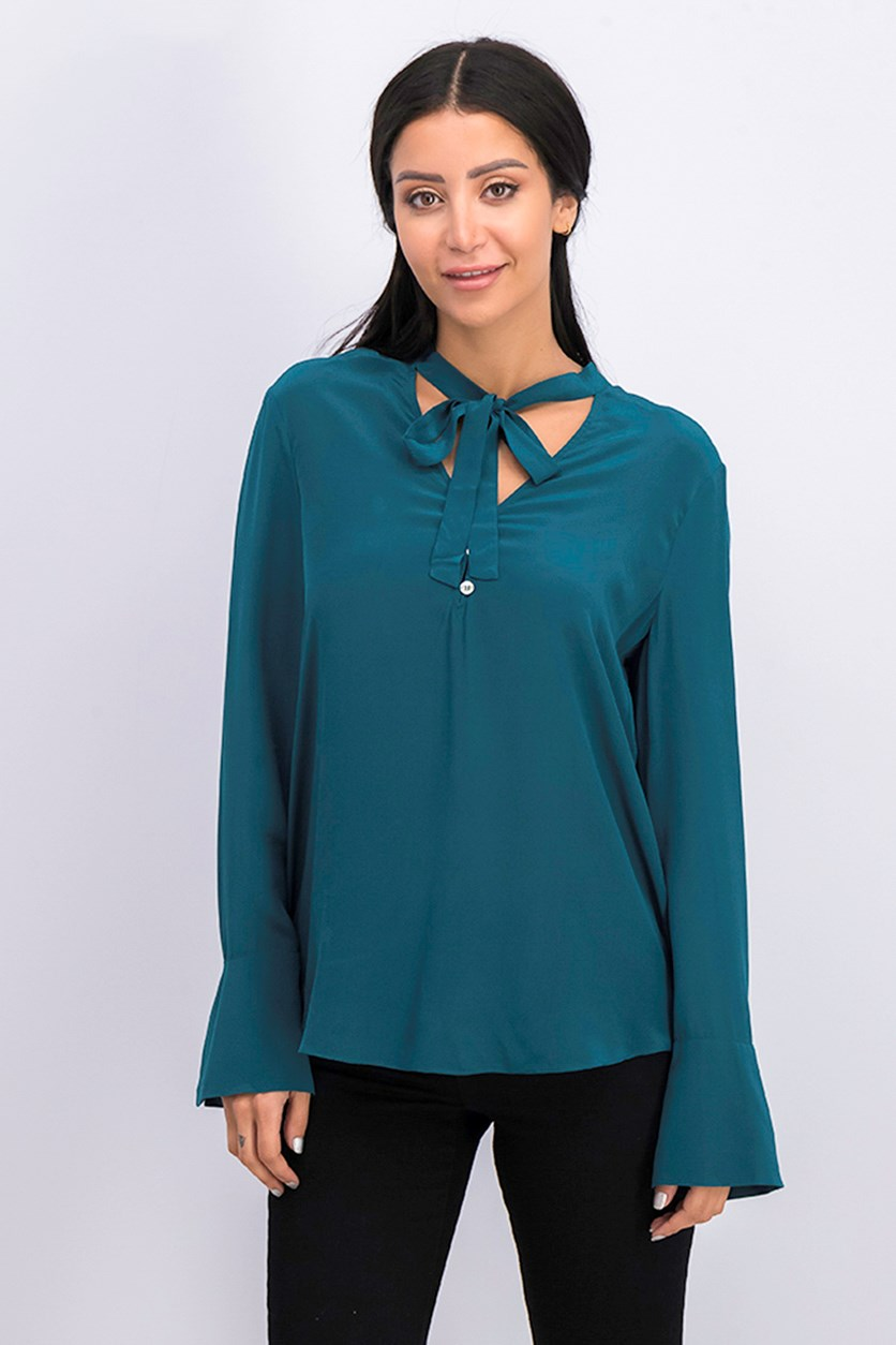Women Long Sleeve Blouse, Deep Teal