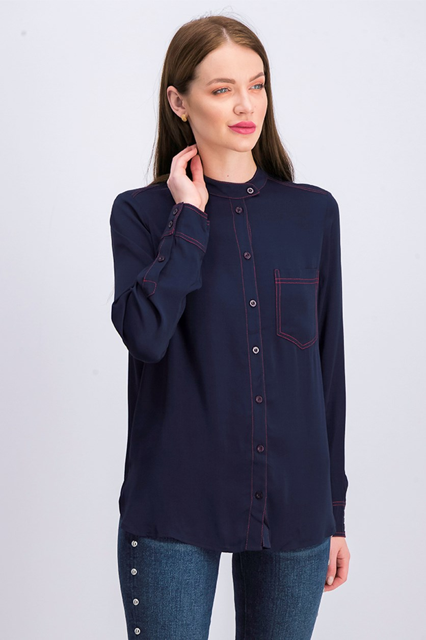 Women Long Sleeve Blouse, Navy/Red