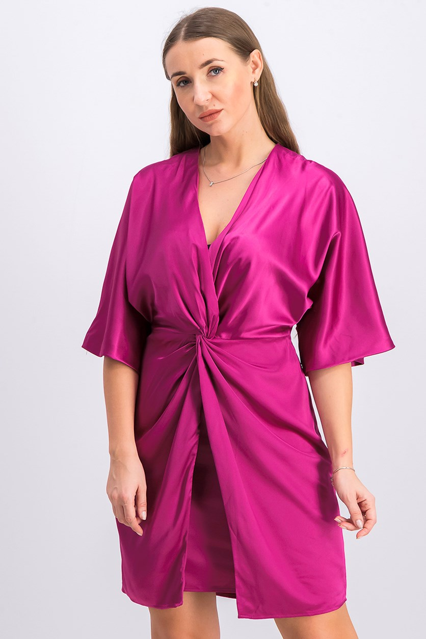 Women's Satin Knot-Front Cocktail Dress, Berry