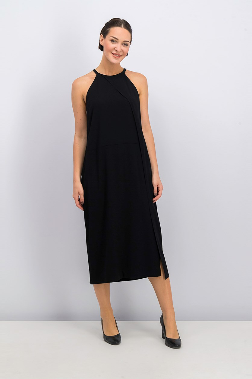 Women's High Neck Midi Dress, Black