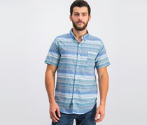 Ezekiel Mens Cowabunga Yarn-Dyed Shirt, Blue Combo