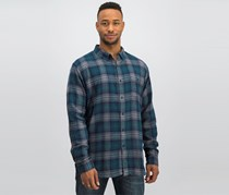 Ezekiel Men Plaid Casual Shirt, Green/Navy Combo