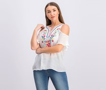 Juniors' Embroidered Cold-Shoulder Top, Off White
