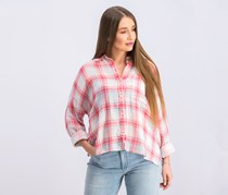 Women's Pink Plaid Cuffed Collared Button up Top, Garden Grove Plaid