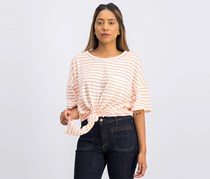 Sanctuary Women Echo Park Cotton Striped Tie-Hem Tee, Papaya/White