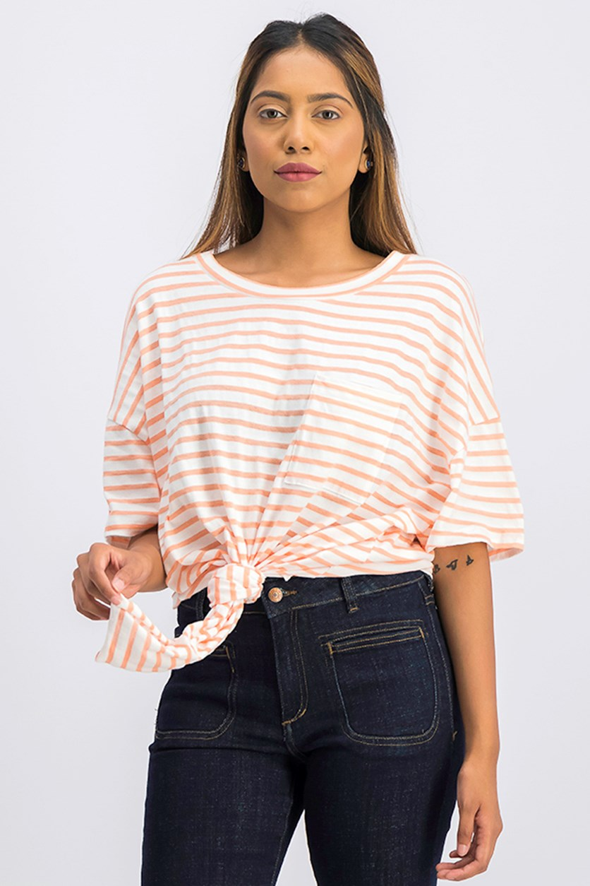 Women Echo Park Cotton Striped Tie-Hem Tee, Papaya/White
