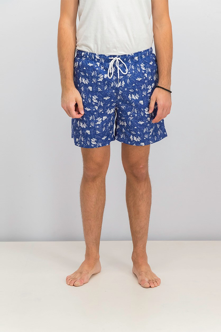 Men's Beach Print Swim Trunks, Blue/White