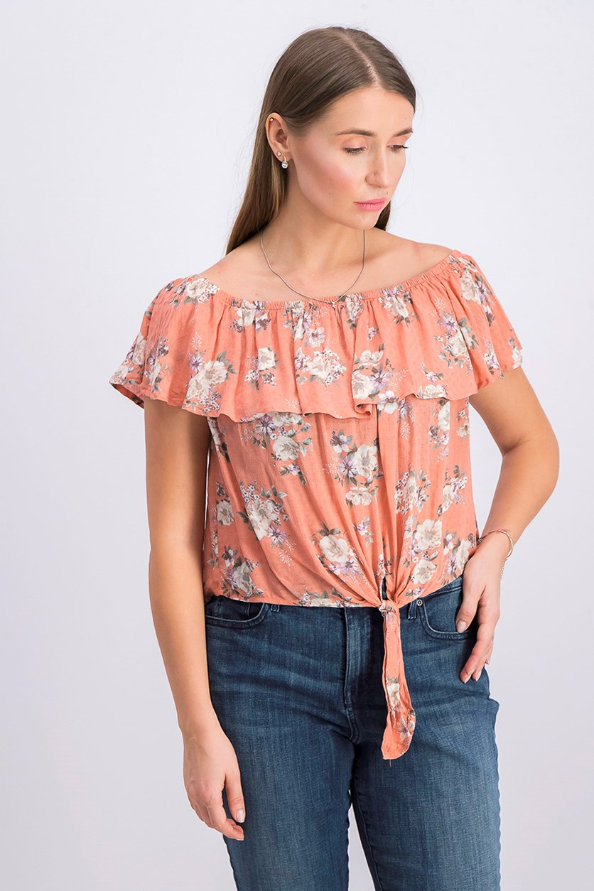 Womens Floral Print Tie Front Blouse, Coral