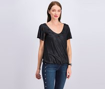 Collective Clothing Women's Metallic Blouse, Black