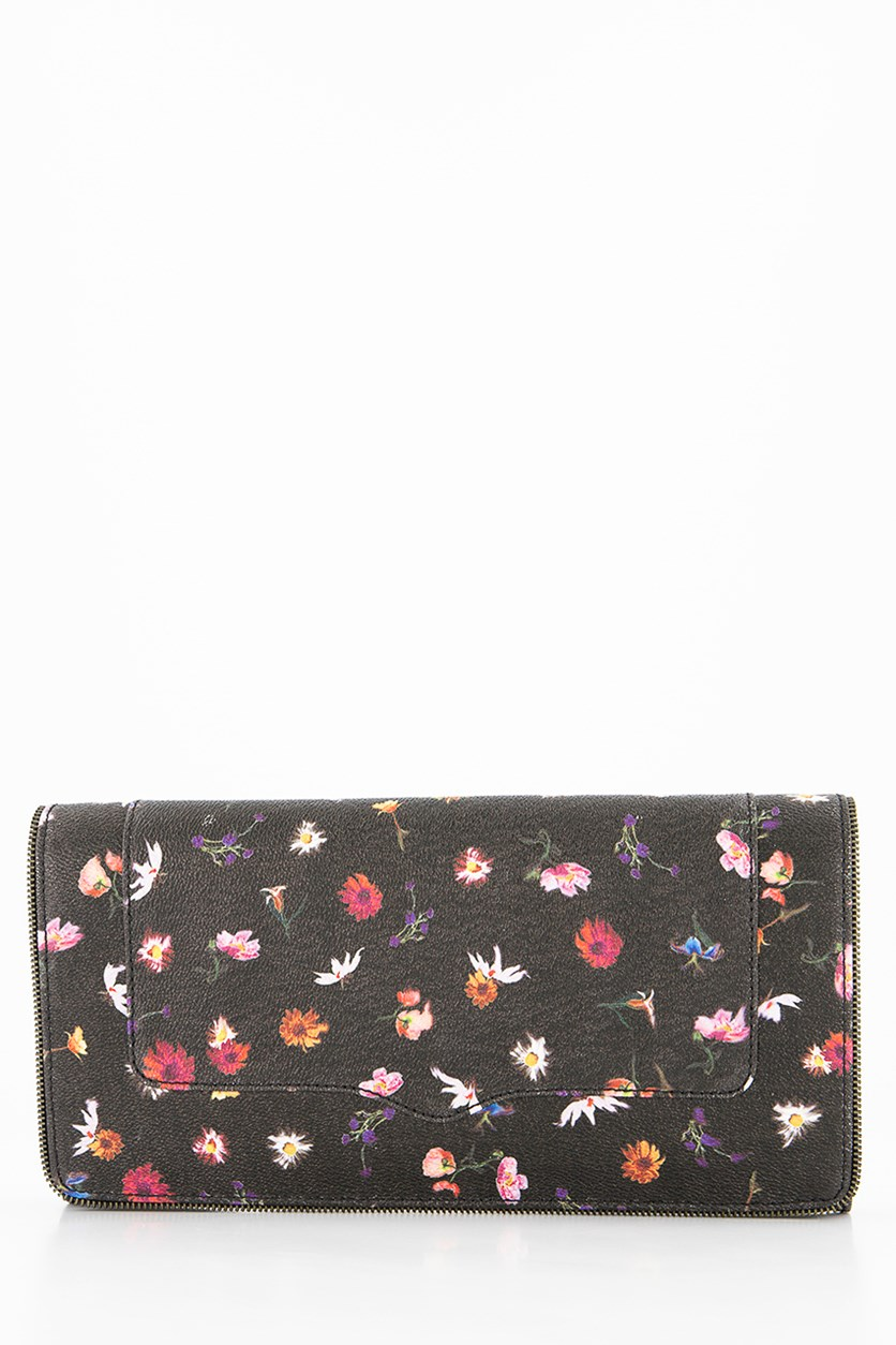 Printed Pure Leather Amorous Clutch, Black