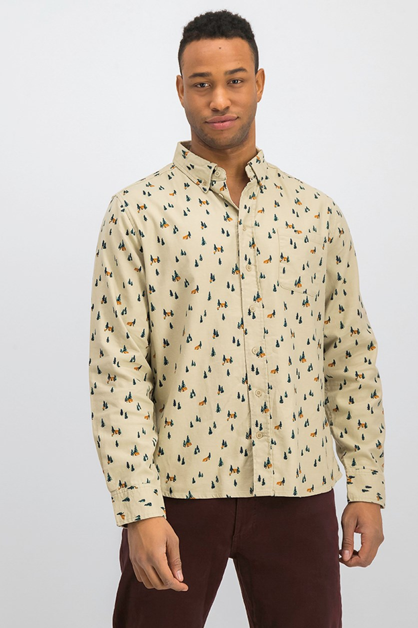 Men Elkridge Print Button Down Shirt, Stone Combo