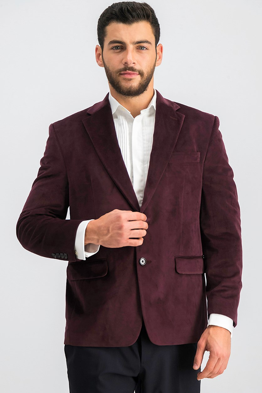 Men's Velvet Blazer, Burgundy