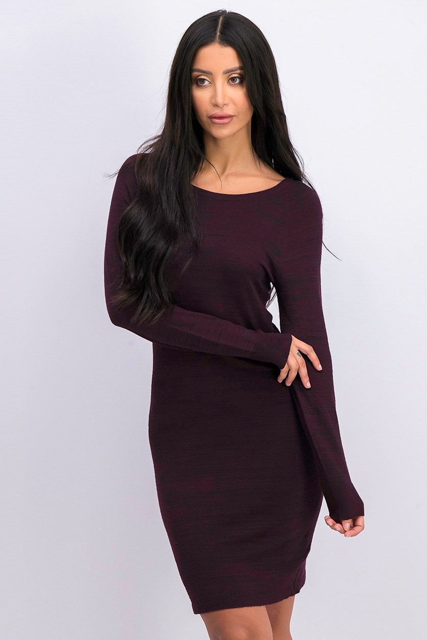 d Women's Back-Zip Knit Dress, Burgundy
