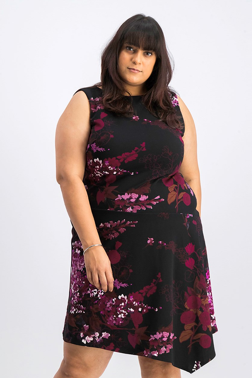 Floral-Print Crepe Dress, Black/Purple