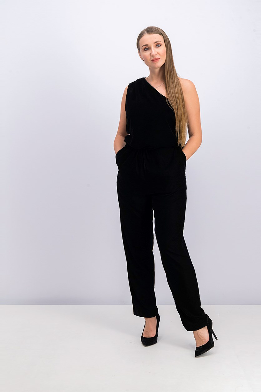 Women's Shaleaha Velvet One Shoulder Jumpsuit, Black