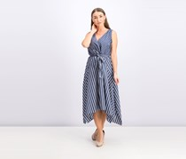 Lafayette 148 New York Womens Demetria Striped Sleeveless Midi Dress, Blue Note Combo
