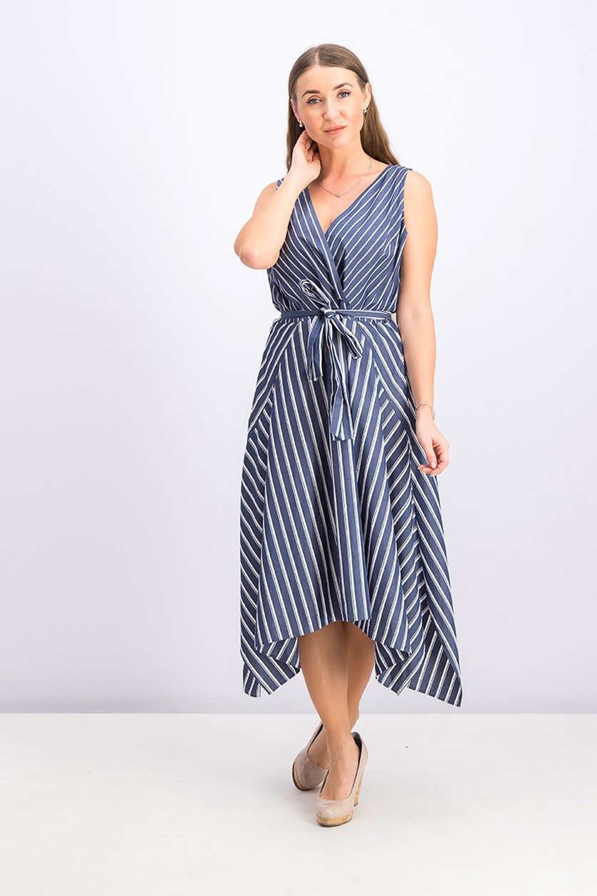 New York Womens Demetria Striped Sleeveless Midi Dress, Blue Note Combo