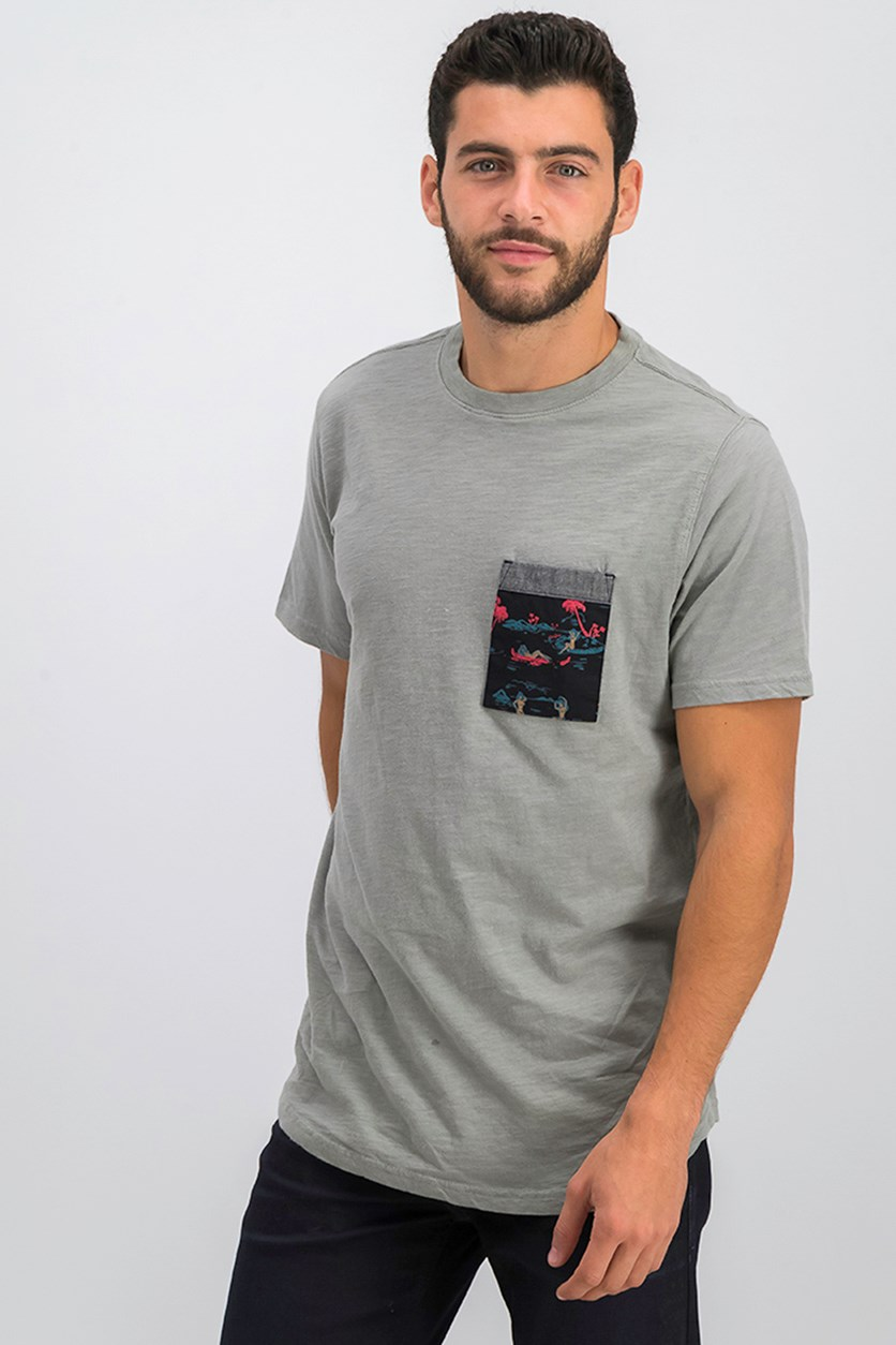 Men's Rockpiles Crew Neck Chest Pocket Tee, Gray
