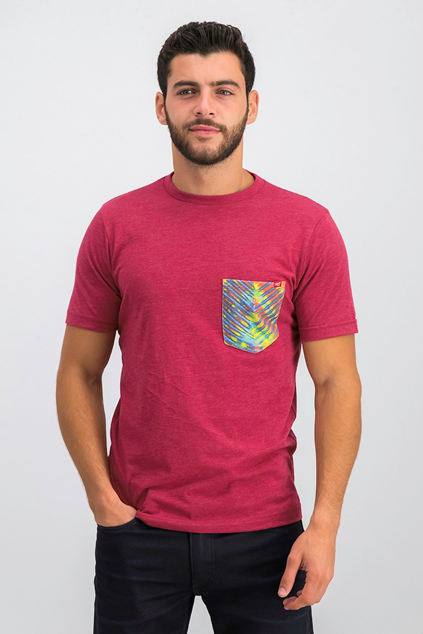 Men's Chest Pocket Tee, Red Heather