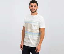 Lost Men's Striped Chest Pocket Tee, White Combo