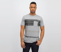 Lost Men's Eco Knit Striped Chest Pocket Tee, Grey