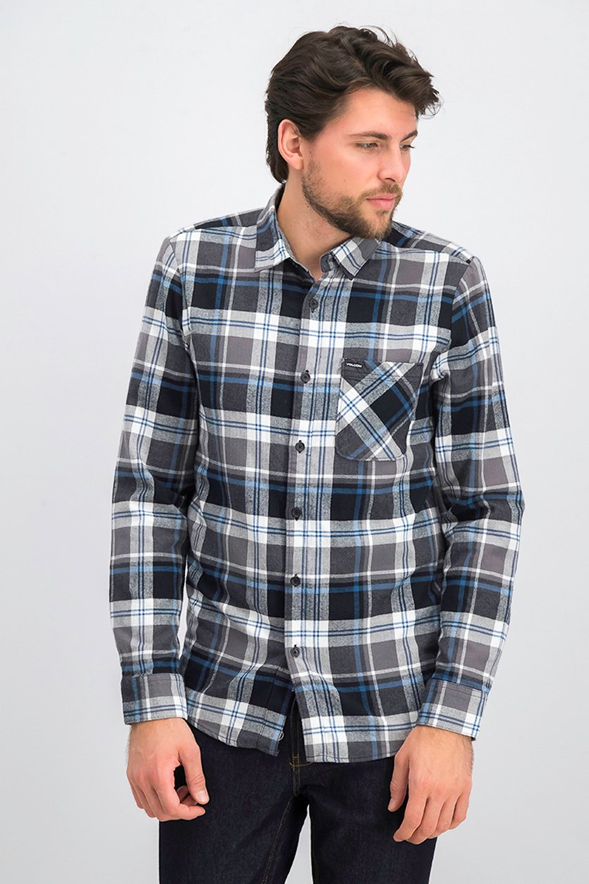 Men's Caden Plaid Flannel Shirt, Pewter