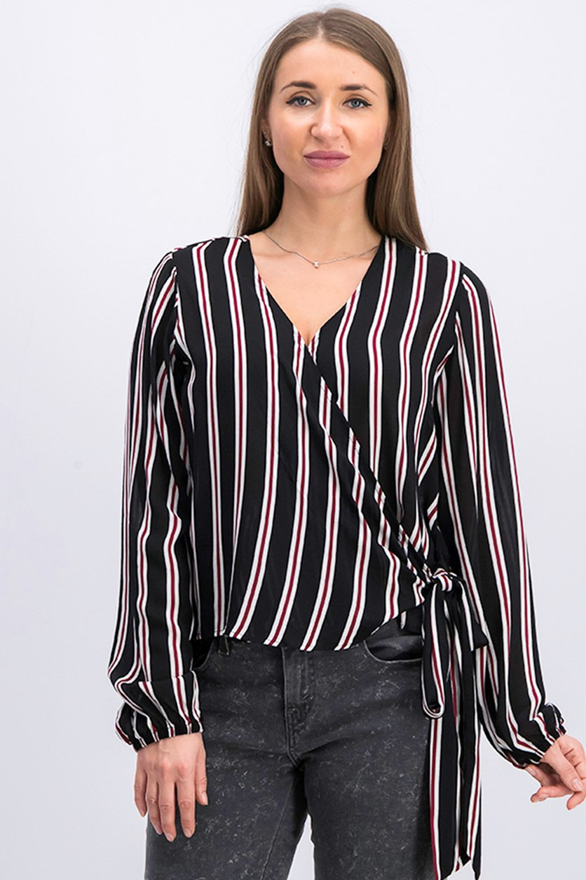 Polly & Esther Juniors Striped Wrap Blouse, Black Combo
