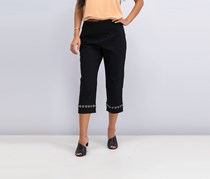 Jm Collection Embellished Capri Pants, Deep Black