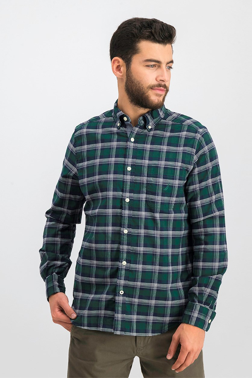 Men's Oxford Plaid Classic Fit Shirt, Tidal Green