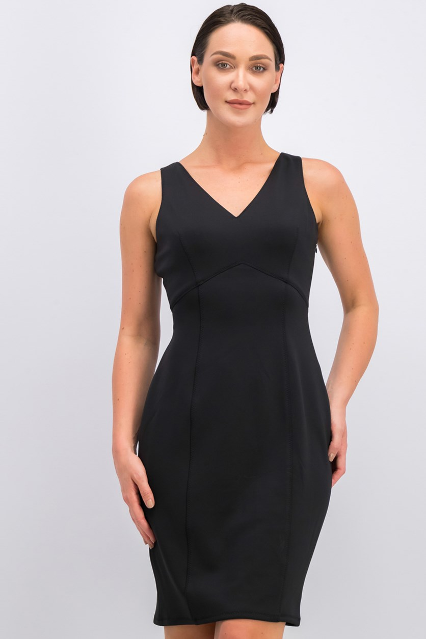 V-Neck Plain Dress, Black