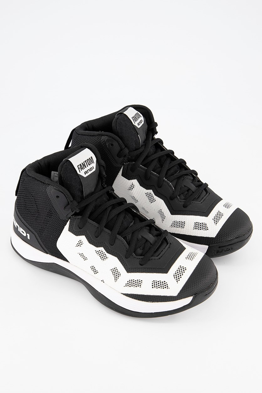 Men Fantom Basketball Shoes, Black/White