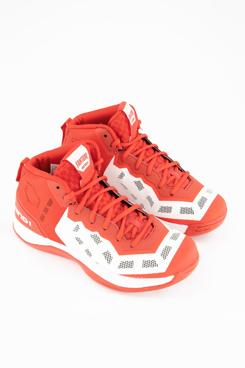 Men Fantom Basketball Shoes, Red/White