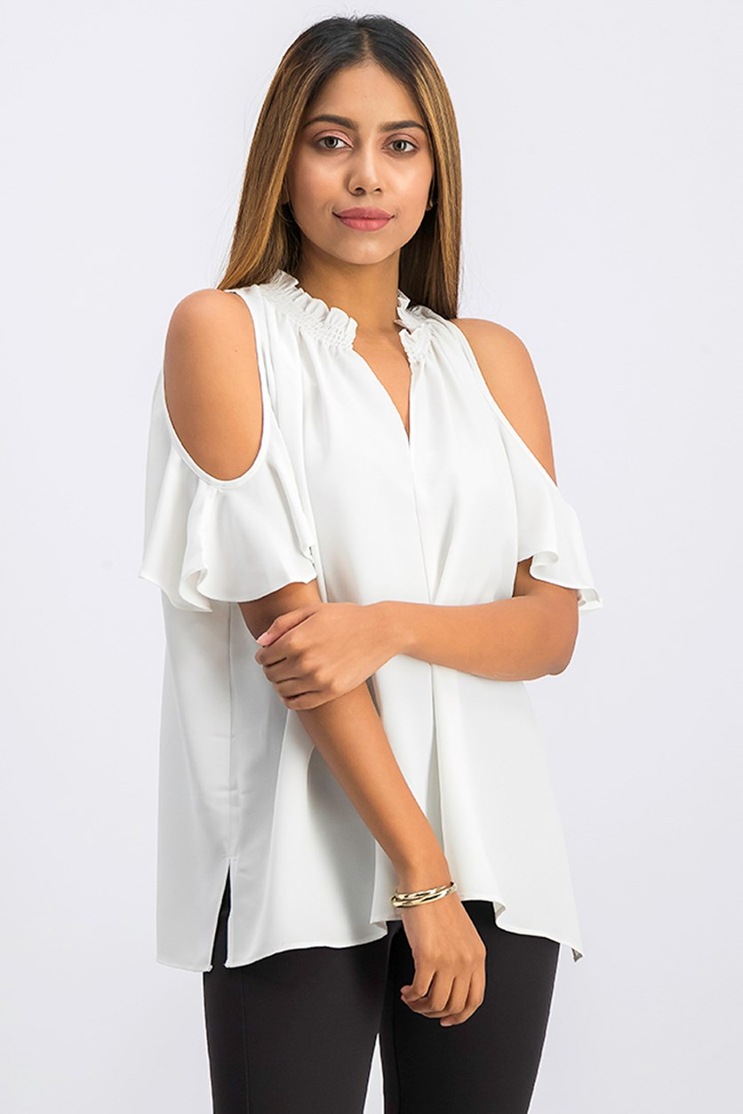 Vanessa High-Neck Cold-Shoulder Top, White