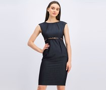 Calvin Klein Chambray Belted A-Line Dress, Blue