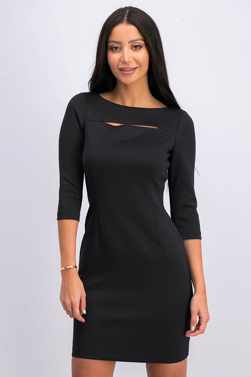 Women 3/4 Sleeve Dress, Black