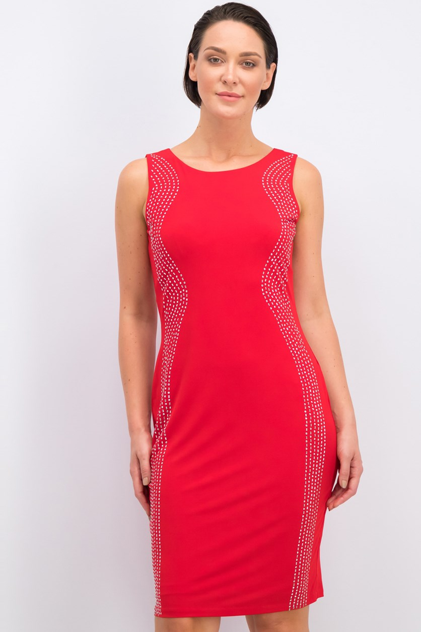 Studded Sheath Dress, Red