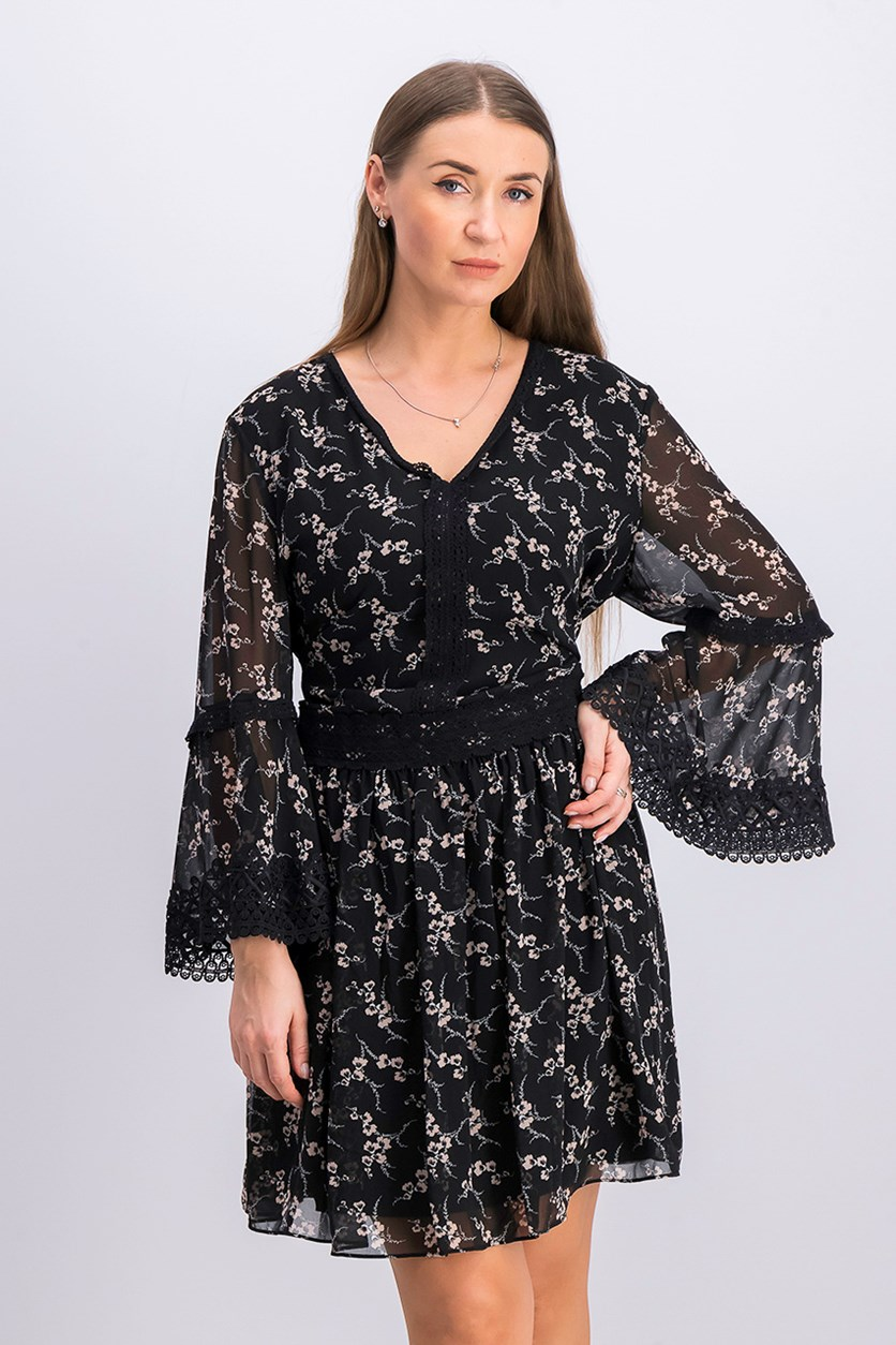 Elouise Floral-Print Dress, Black