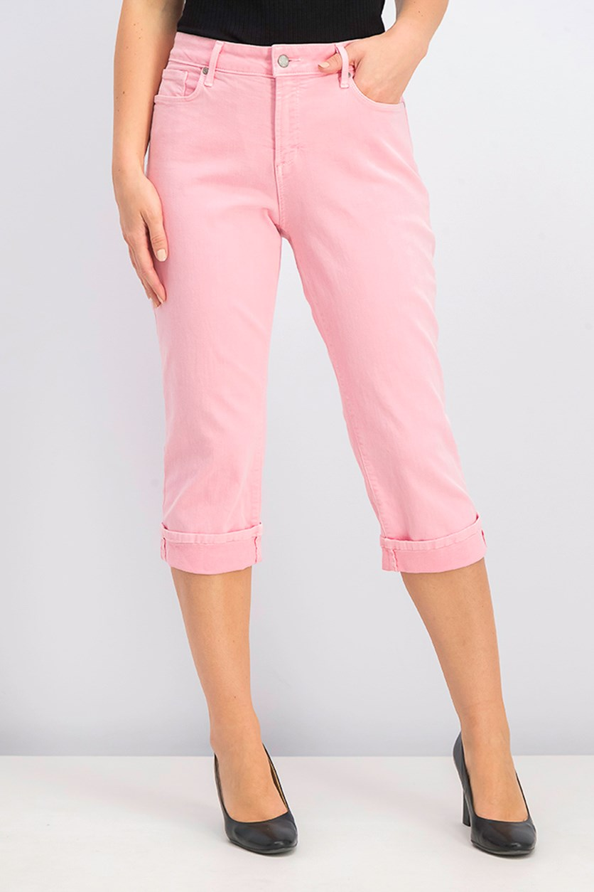 Marilyn Cropped Tummy-Control Jeans, Primrose