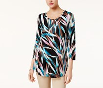 Jm Collection Women's Printed Top, Black/Blue/Pink