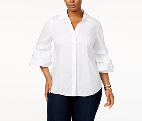 Inc Women's Ruffle-sleeve Shirt, White