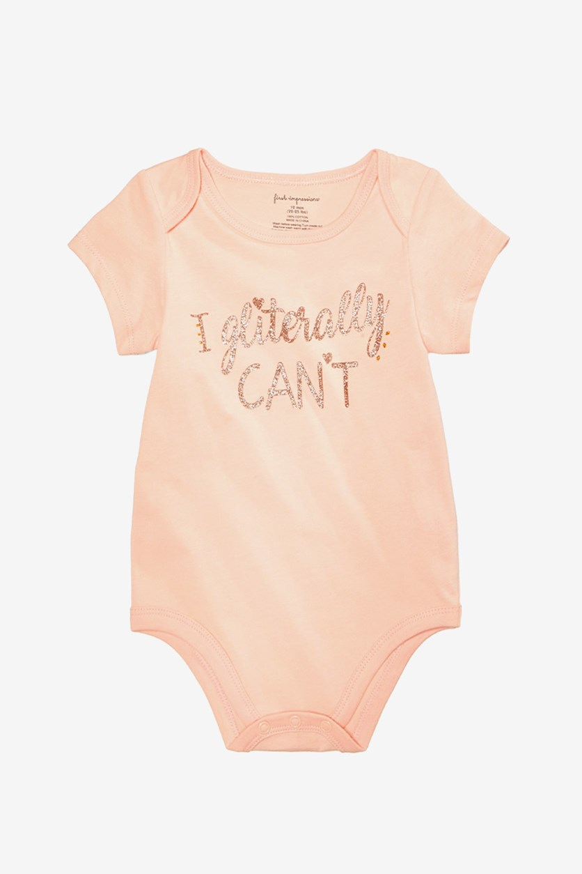 Baby Girls Gliterally Can't Cotton Bodysuit, Pure Punch