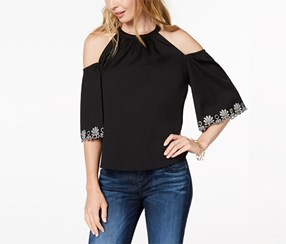 Maison Jules Women's Cold-Shoulder Top, Black